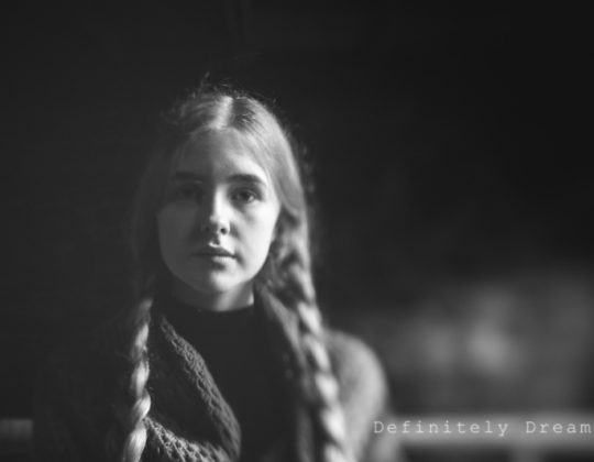 black and white lensbaby portrait