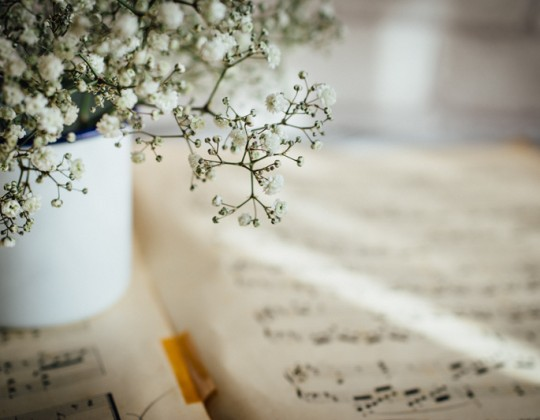 Still life photography, sheet music & flowers