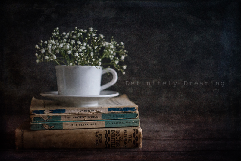 still life photography, vintage books and floral teacup, for world book day